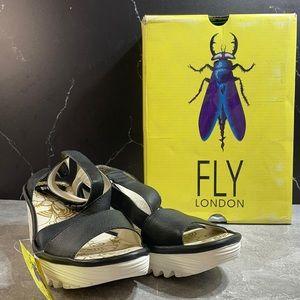 Fly London Yesk Mid Wedge Sandal Black Size 8.5m